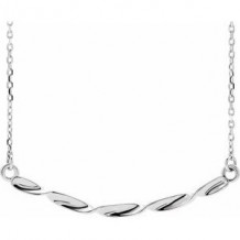 """Sterling Silver Twisted Ribbon Bar 16-18"""" Necklace"""