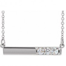 """Sterling Silver 1/5 CTW Diamond Bar 16-18"""" Necklace"""