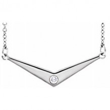 """Sterling Silver .03 CTW Diamond Solitaire """"V"""" 18"""" Necklace"""