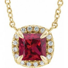 "14K Yellow 4x4 mm Square Ruby & .05 CTW Diamond 18"" Necklace"
