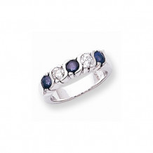 Quality Gold 14k White Gold 3.5mm Sapphire and AA Diamond 5-Stone Ring