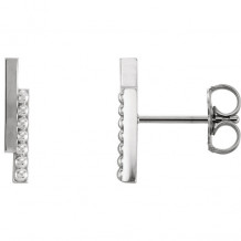 Stuller 14k White Gold Beaded Bar Earrings