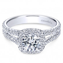 Gabriel & Co.14k White Gold Round Halo Engagement Ring