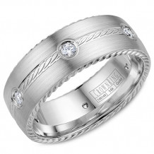 Crown Ring 14k White Gold Diamond Wedding Band
