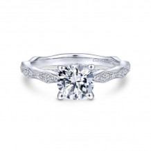 Gabriel & Co. 14k White Gold Victorian Straight Diamond Engagement Ring - ER14427R4W44JJ