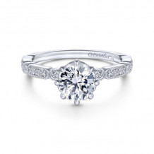 Gabriel & Co. 14k White Gold Victorian Straight Diamond Engagement Ring - ER14432R4W44JJ