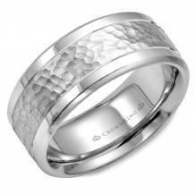 CrownRing 14k White Gold Carved 9mm Wedding Band - WB-9622