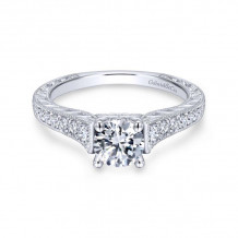 Gabriel & Co. 14k White Gold Victorian Straight Diamond Engagement Ring - ER12282R3W44JJ