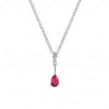 Gabriel & Co. 14K White Gold Color Solitaire Ruby Necklace NK1824W45RB