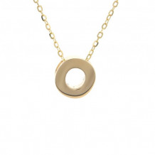 Lau International 14k Yellow Gold Initial O Pendant with Chain