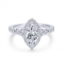 Gabriel & Co. 14k White Gold Entwined Halo Diamond Engagement Ring - ER12765M4W44JJ