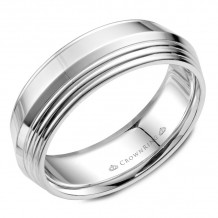 CrownRing 14k White Gold Carved 7mm Wedding Band - WB-055C7W