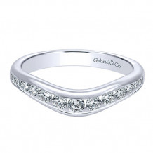 Gabriel & Co 14k White Gold Round Curved Anniversary Band