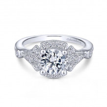 Gabriel & Co. 14k White Gold Art Deco Halo Diamond Engagement Ring - ER14430R4W44JJ