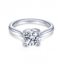 Gabriel & Co. 14k White Gold Contemporary Straight Diamond Engagement Ring - ER13847R4W44JJ