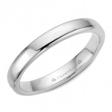 CrownRing 14k White Gold Traditional 3.5mm Wedding band - TDS14W35