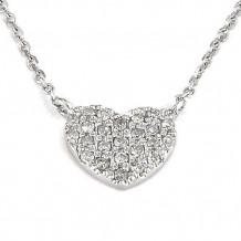 Lau International 14k White Gold Diamond Heart Necklace