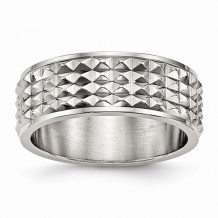 Chisel Stainless Steel Polished Studded Men's Ring