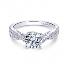 Gabriel & Co. 14k White Gold Contemporary Criss Cross Diamond Engagement Ring - ER7546W44JJ