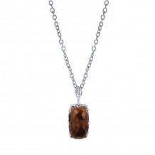 Gabriel Silver Mediterranean Smoky Quartz Necklace NK2739SV5SQ