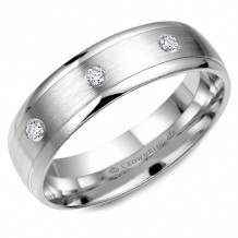 CrownRing 14k White Gold Diamond 6mm Wedding band - WB-7096W