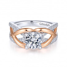 Gabriel & Co. 14k Two Tone Gold Contemporary Twisted Diamond Engagement Ring - ER14417R4T44JJ