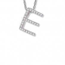 Lau International 14K White Gold Diamond Initial E Pendant