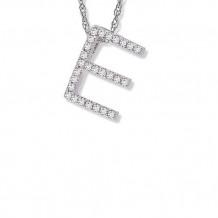 Lau International 14K White Gold Diamond Initial E Pendant