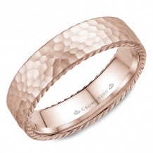 CrownRing 14k Rose Gold Rope 6mm Wedding band - WB-004R6R