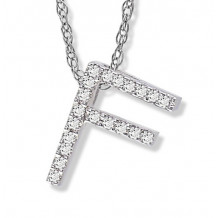 Lau International 14k White Gold Diamond Initial F Pendant