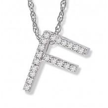 Lau International 14k White Gold Diamond Initial F Pendant