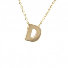 Lau International 14k Yellow Gold Initial D Pendant with Chain