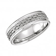 Stuller 14k White Gold Hand-Woven Men's Wedding Band
