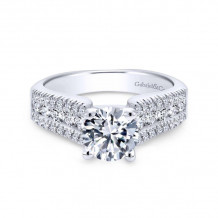 Gabriel & Co. 14k White Gold Contemporary Straight Diamond Engagement Ring - ER3952W44JJ