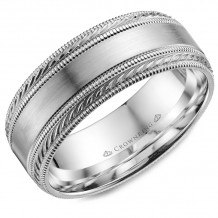 CrownRing 14k White Gold  Carved 8mm Wedding Band - WB-034C8W