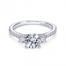 Gabriel & Co. 14k White Gold Contemporary 3 Stone Diamond Engagement Ring - ER7296W44JJ