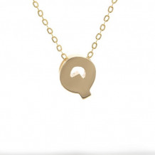 Lau International 14k Yellow Gold Initial Q Pendant with Chain
