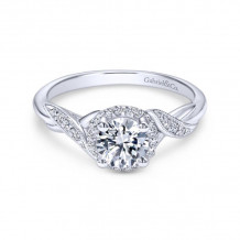 Gabriel & Co. 14k White Gold Contemporary Halo Diamond Engagement Ring - ER11828R3W44JJ