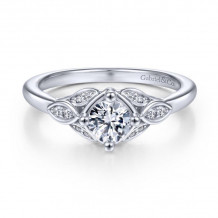 Gabriel & Co. 14k White Gold Art Deco Straight Diamond Engagement Ring - ER14657R2W44JJ