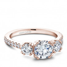 Noam Carver 14k Rose Gold 3 Stone Style Diamond Engagement Ring