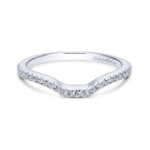 Gabriel & Co. 18k White Gold Contemporary Curved Wedding Band - WB7740W84JJ