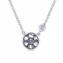 Gabriel Silver Color Solitaire White Sapphire Necklace NK5240SV5WS