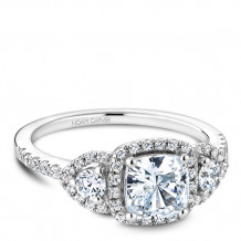 Noam Carver 14k White Gold 3 Stone Style Diamond Engagement Ring
