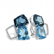 Allison Kaufman 14k White Gold Gemstone & Diamond Stud Earrings