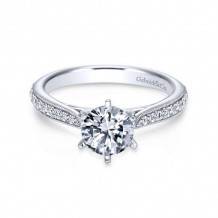 Gabriel & Co. 14k White Gold Contemporary Straight Diamond Engagement Ring - ER6687W44JJ