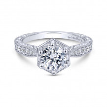 Gabriel & Co. 14k White Gold Art Deco Straight Diamond Engagement Ring - ER14498R4W44JJ