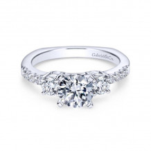 Gabriel & Co. 14k White Gold Contemporary 3 Stone Diamond Engagement Ring - ER4247W44JJ