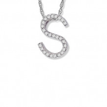 Lau International 14K White Gold Diamond Initial S Pendant