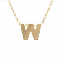 Lau International 14k Yellow Gold Initial W Pendant with Chain
