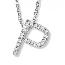 Lau International 14k White Gold Diamond Initial P Pendant